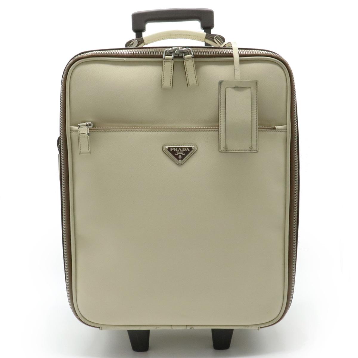 【バッグ】PRADA プラダ サフィアーノ キャリーバッグ キャリーケース スーツケース トロリーバッグ 旅行カバン レザー CERA アイボリー 白 VV0031 【中古】