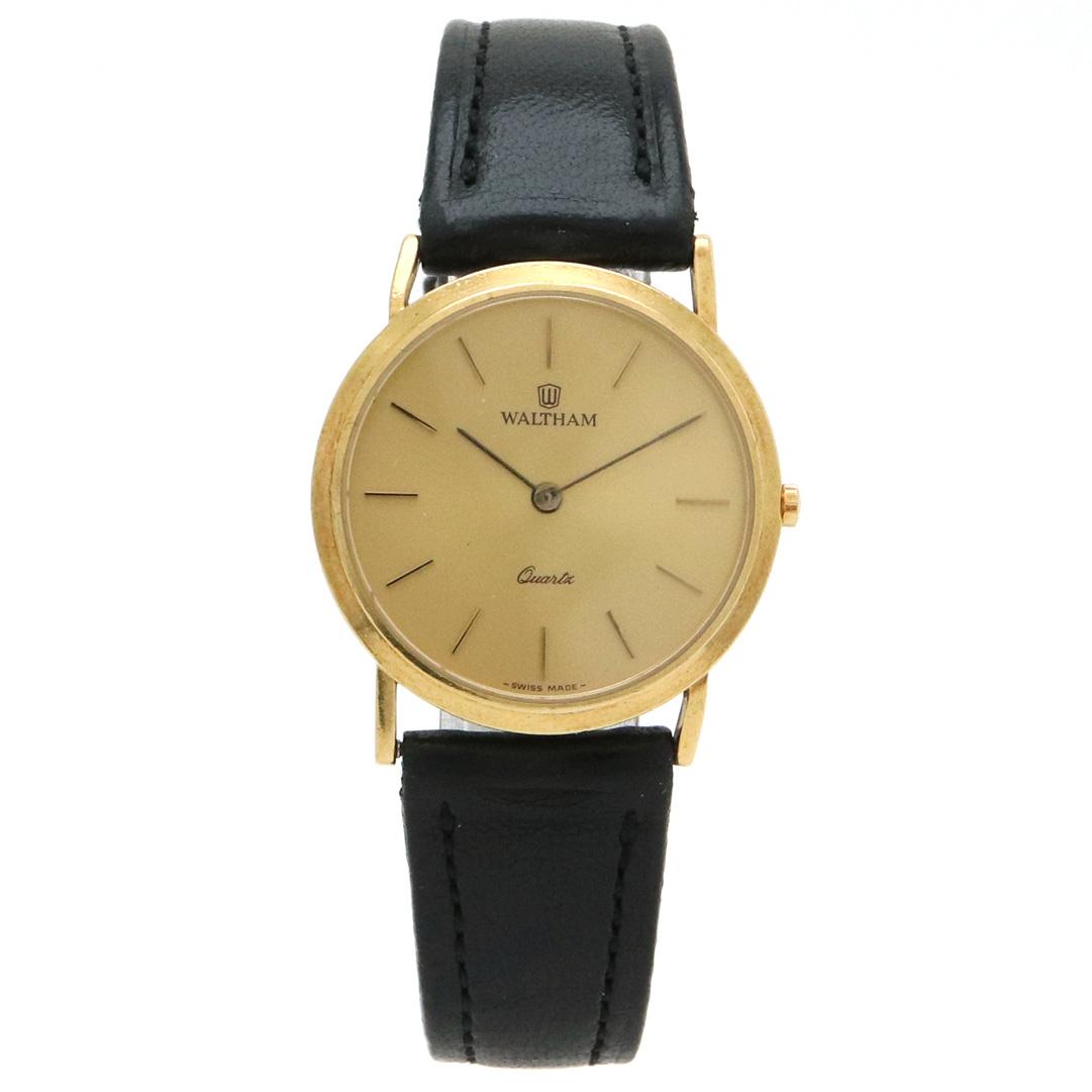 【ウォッチ】WALTHAM ウォルサム ラウンド ゴールド文字盤 K18YG 750 革ベルト QZ クォーツ レディース 腕時計 94200.26 【中古】