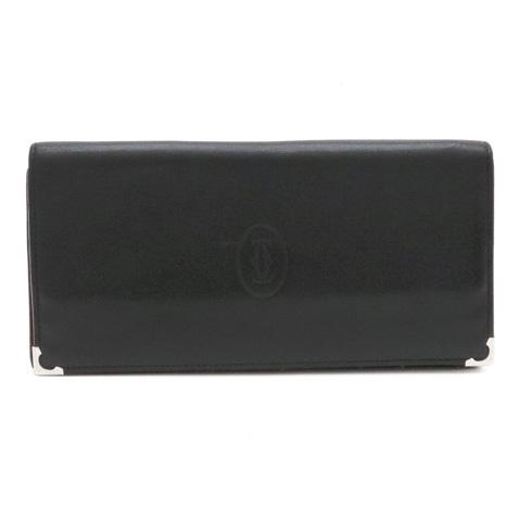 【財布】Cartier カルティエ マストライン カボション 2つ折長財布 レザー カーフ 黒 ブラック ボルドー シルバー金具 L3001363 【中古】