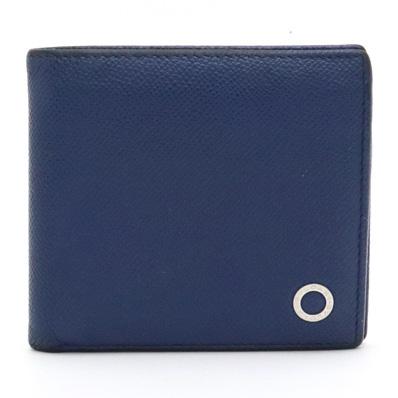【財布】BVLGARI ブルガリ ブルガリブルガリ グレインレザー 型押しレザー 2つ折財布 二つ折り財布 ブルー 青 シルバー金具 39324 【中古】