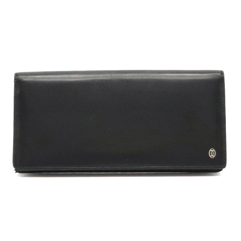 【財布】Cartier カルティエ パシャライン パシャ ドゥ カルティエ 2つ折 長財布 カーフ レザー 黒 ブラック シルバー金具 L3000440 【中古】