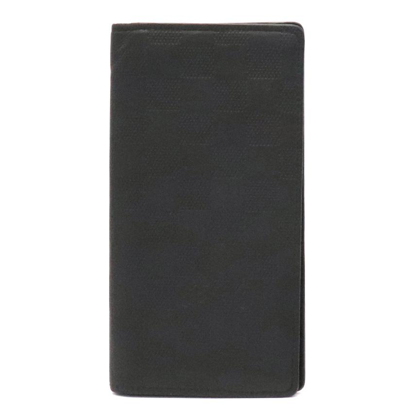 【財布】LOUIS VUITTON ルイ ヴィトン ダミエアンフィニ ポルトフォイユ ブラザ 2つ折長財布 レザー オニキス 黒 ブラック 新型 N63010 【中古】