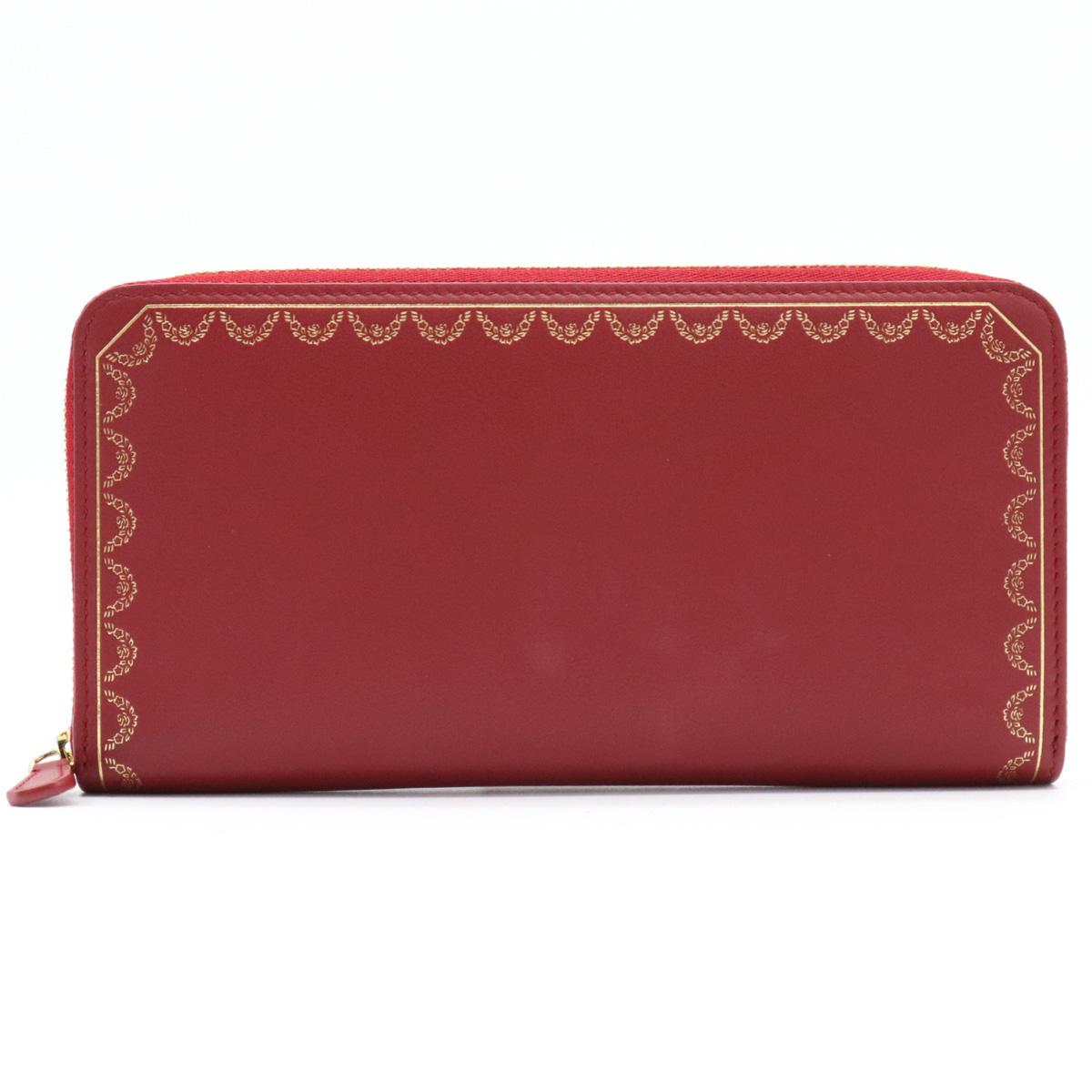 【財布】Cartier カルティエ ガーランド ドゥ カルティエ ラウンドファスナー 長財布 カーフ レザー レッド 赤 L3001709 【中古】