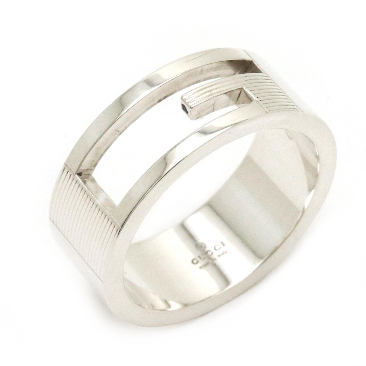 Sランク品 新品仕上げ済 ジュエリー GUCCI グッチ ブランデッドG リング オープンGリング 指輪 032660 シルバー 中古 18号 SV925 09840 #58 おしゃれ 贈呈