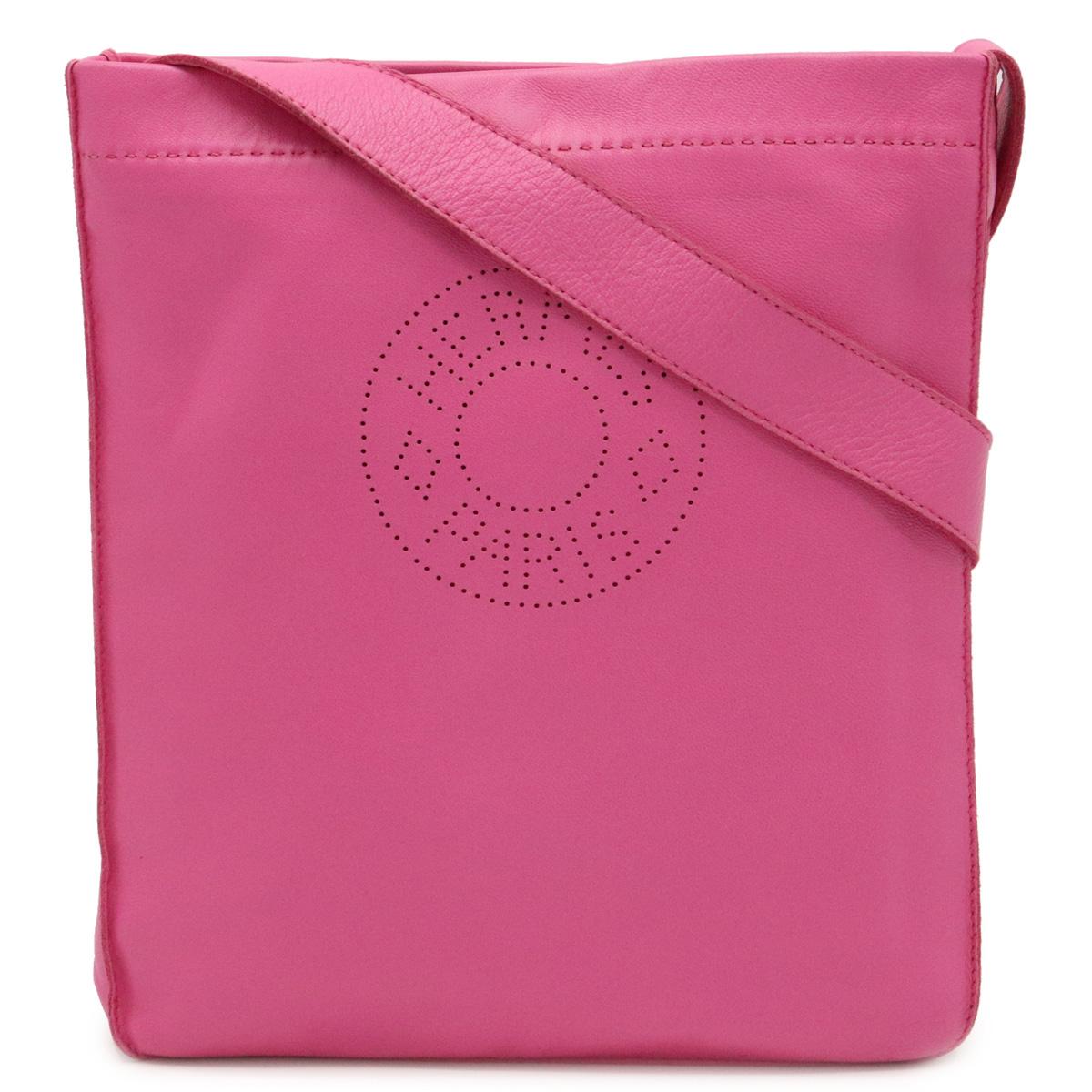 【バッグ】HERMES エルメス クルードセル ショルダーバッグ 斜め掛け ポシェット ラムスキン ピンク □O刻印 【中古】