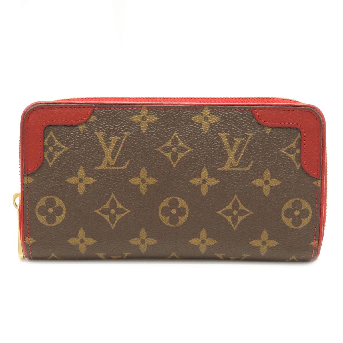数量限定 財布 LOUIS VUITTON ルイ ヴィトン モノグラム ジッピーウォレット レティーロ M61854 レッド ラウンドファスナー 中古 赤 長財布 レザー スリーズ 特売