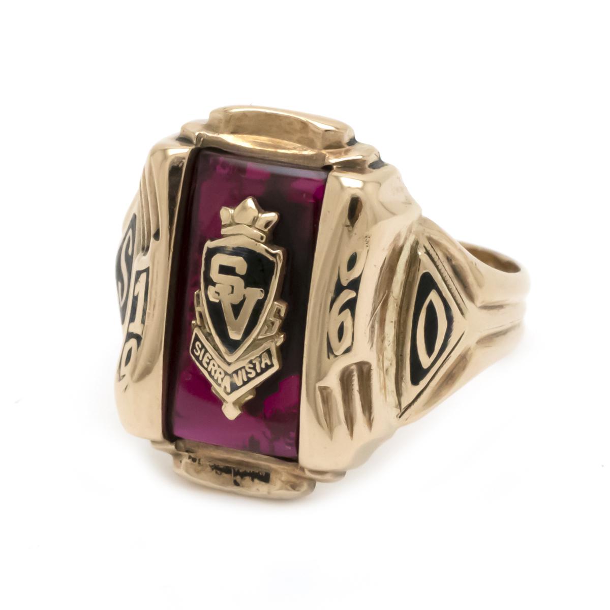 #18 18号 ジュエリー HERFF JONES ハーフ ジョンズ まとめ買い特価 カレッジリング ヴィンテージリング 1966年製 市販 イエローゴールド 赤 色石 K10YG レッド 指輪 リング 中古
