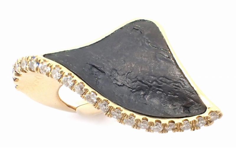 【中古】【ジュエリー】K18 ゴールド ファッションリング 指輪 14号 #14 ストーン 0.57 黒 ブラック【u】