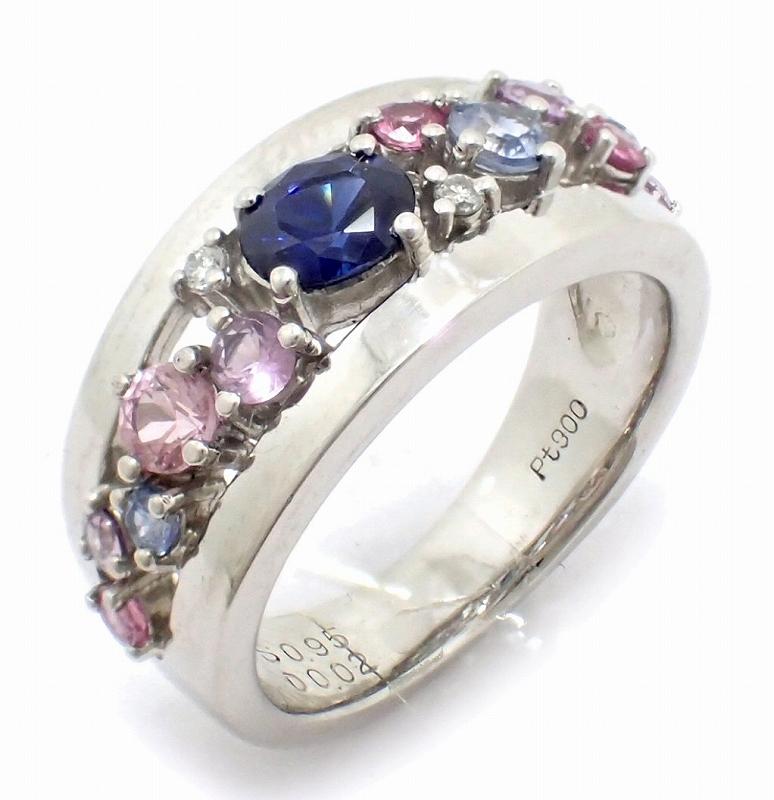 【中古】【ジュエリー】Pt900 プラチナ ファッションリング 指輪 9.5号 #9.5 サファイア 0.95 ダイヤモンド ダイヤ 0.02 マルチカラー ストーン 色石【u】【Blumin 市場店】