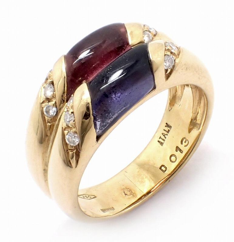 【中古】【ジュエリー】K18 ゴールド ファッションリング 指輪 13号 #13 マルチカラー ストーン カラーストーン 色石 ダイヤモンド ダイヤ 0.13【u】【Blumin 市場店】