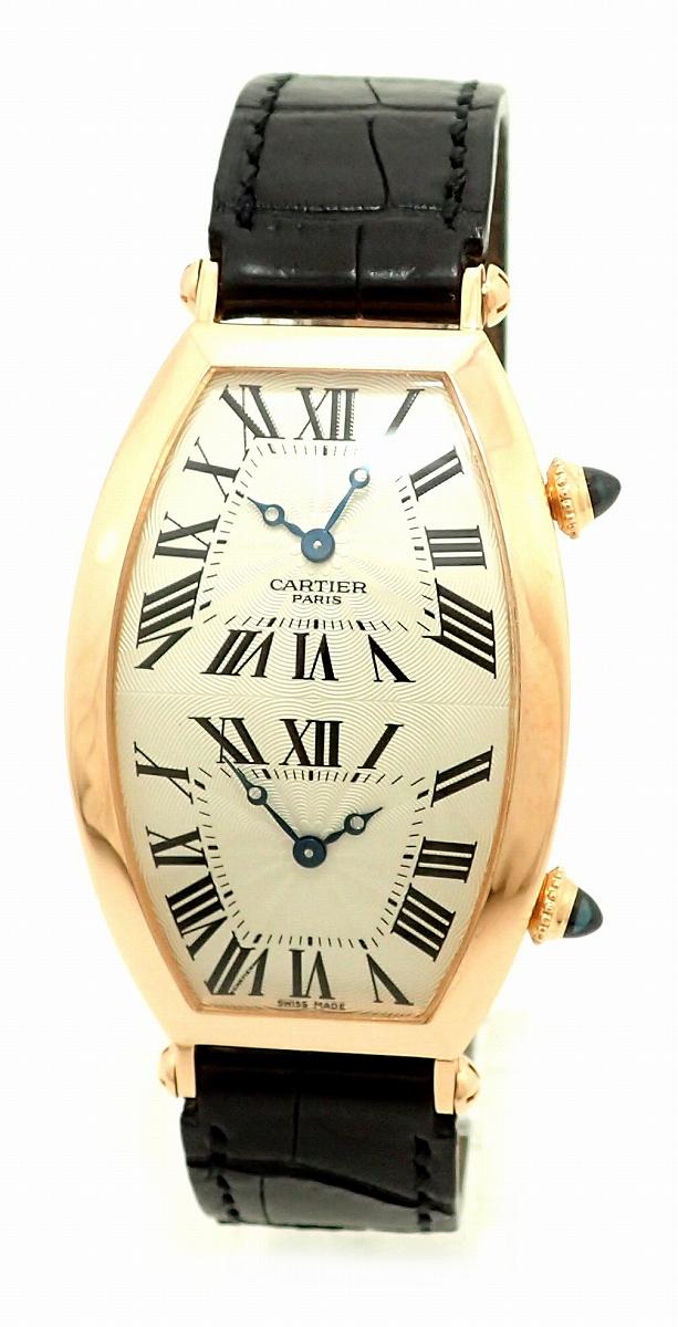 【ウォッチ】【OH・新品仕上げ済】Cartier カルティエ トノー XL 2タイムゾーン シルバー文字盤 K18PG 750PG ピンクゴールド メンズ 手巻き 腕時計 W1547851 【中古】【u】