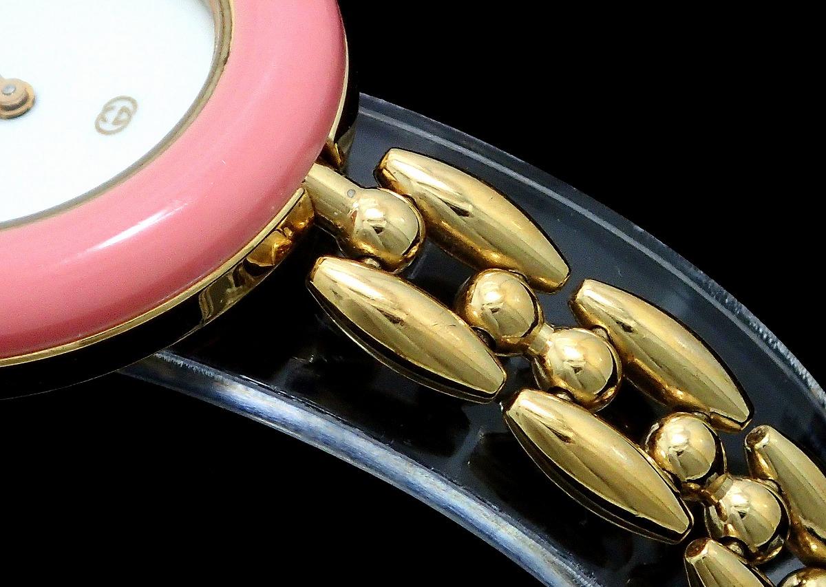【ウォッチ】GUCCI グッチ チェンジベゼル ホワイト文字盤 GP ゴールドメッキ レディース QZ クォーツ 腕時計 11/