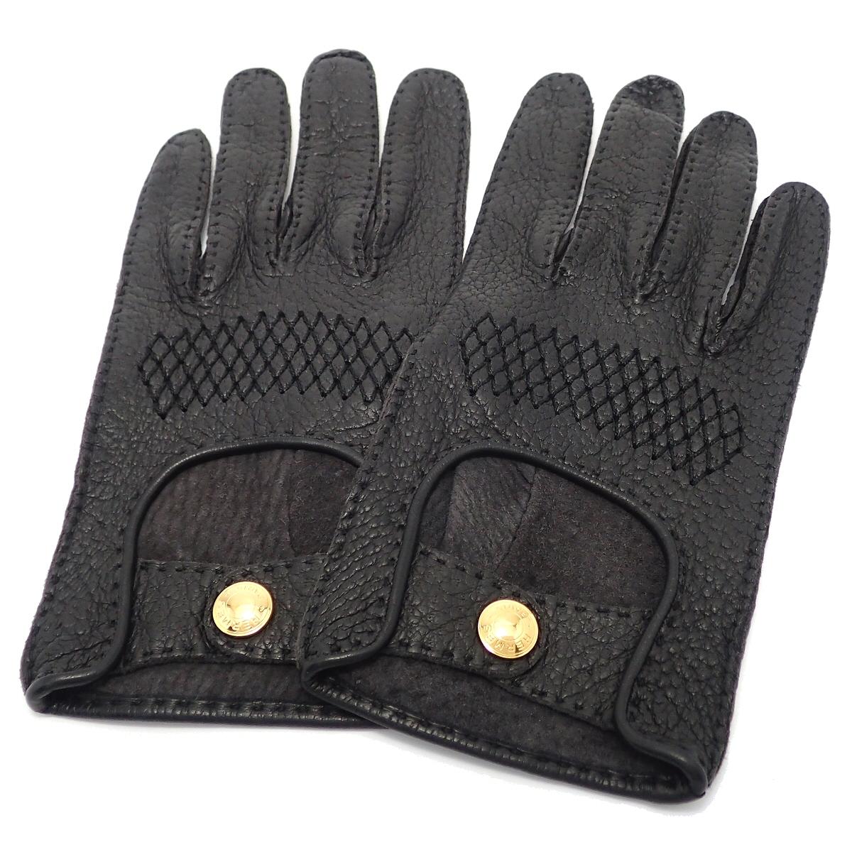 HERMES エルメス セリエ レザーグローブ 手袋 黒 レザー ゴールド金具 【中古】【k】【Blumin 市場店】