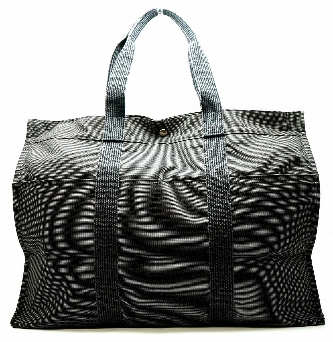 【バッグ】HERMES エルメス エールライン トートTGM GM トートバッグ 旅行鞄 旅行 ショルダートート キャンバス グレー 【中古】【u】