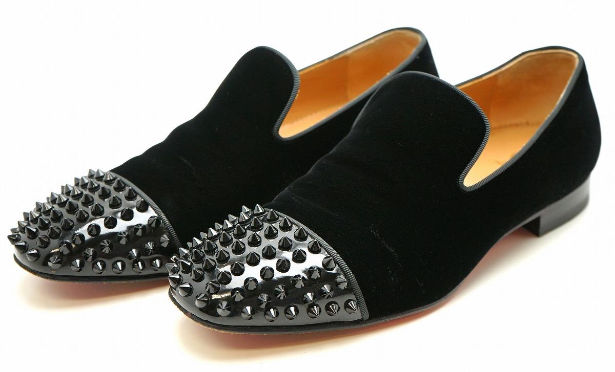 【靴】Christian Louboutin クリスチャン ルブタン ローファー 靴 ベロア ラバー 黒 ブラック メンズ サイズ40 【中古】【k】【Blumin 市場店】