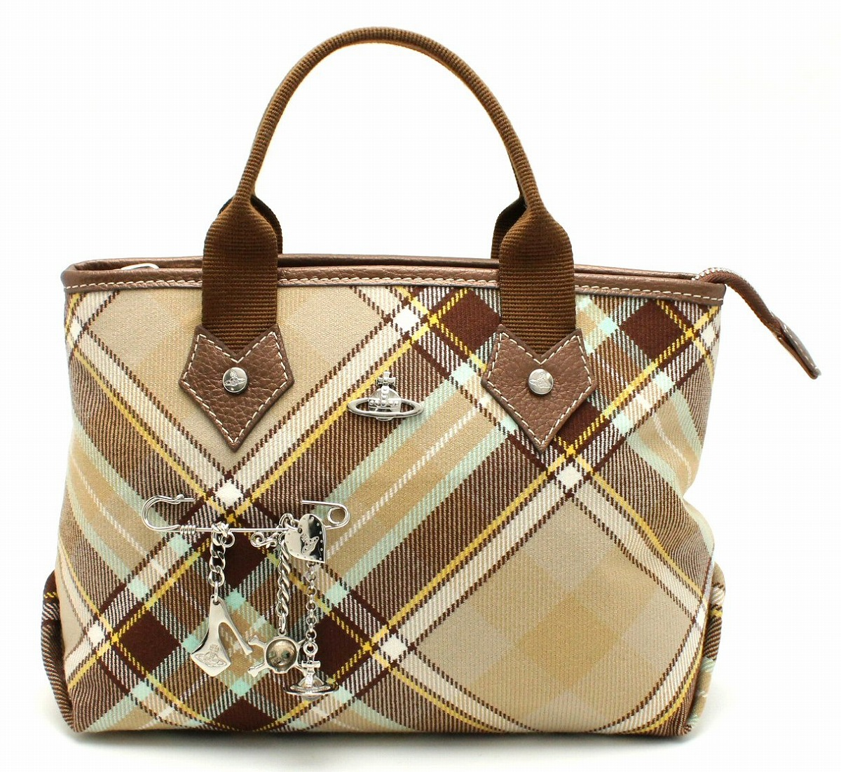 【バッグ】Vivienne Westwood ヴィヴィアン ウエストウッド オーブ トート ハンドバッグ キャンバス 茶 ブラウン チェック マルチカラー 【中古】【k】
