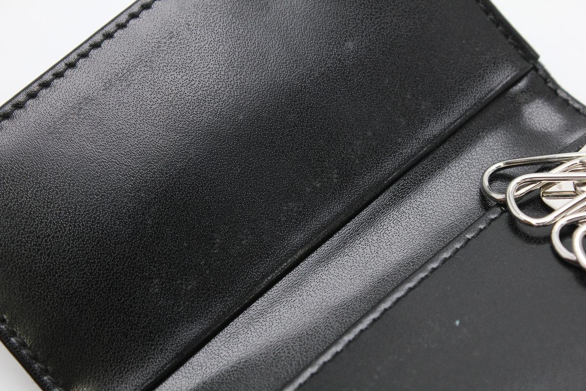 未使用品 BVLGARI ブルガリ クラシコ グレインレザー ロゴ マニア 6連キーケース デニム ダークブルー シルバー金具 20235khdrxCQts