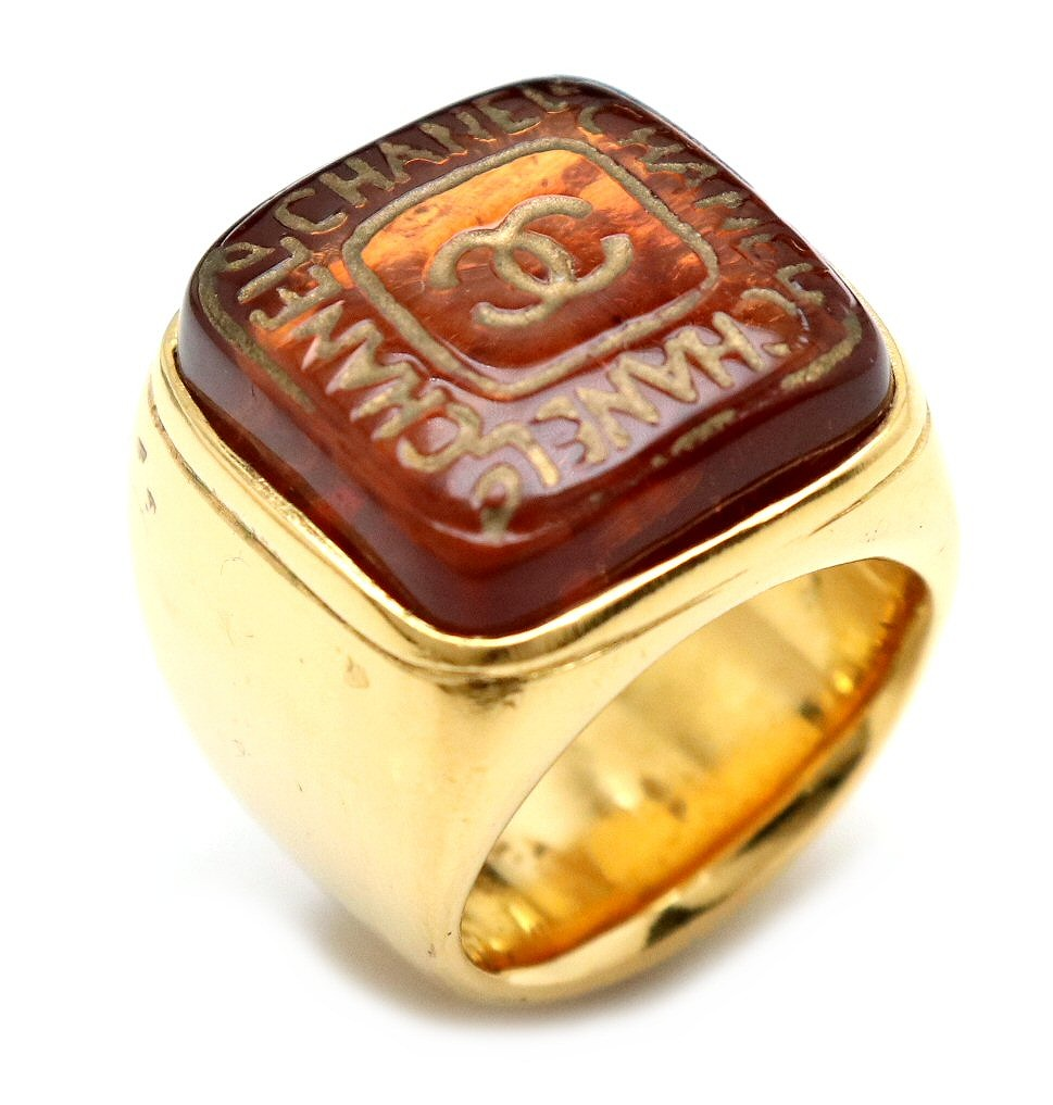 【ジュエリー】CHANEL シャネル ココマーク リング 指輪 クリアブラウン ゴールド色 GP 11号 #11 【中古】【u】