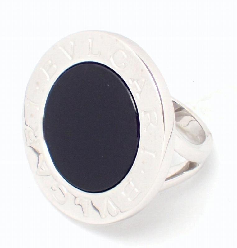 【ジュエリー】【新品仕上げ済】BVLGARI ブルガリ ブルガリブルガリ ダブルロゴ ビッグ リング 指輪 9号 #9 K18WG ホワイトゴールド オニキス 【中古】【u】
