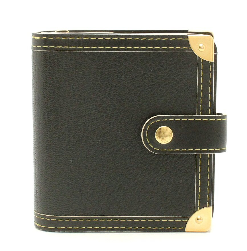 【財布】LOUIS VUITTON ルイ ヴィトン スハリ コンパクトジップ 2つ折財布 レザー ノワール 黒 ブラック M91828 【中古】【k】
