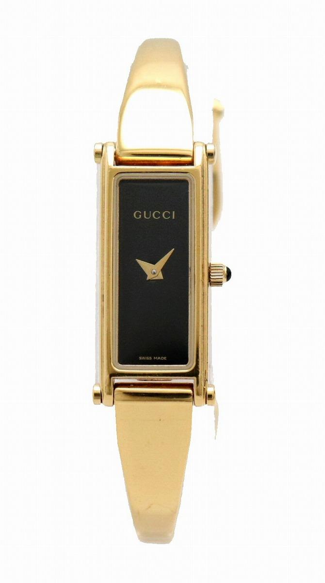 【ウォッチ】GUCCI グッチ ブラック文字盤 イエローゴールドカラー GP レディース クォーツ 腕時計 1500L 【中古】【u】