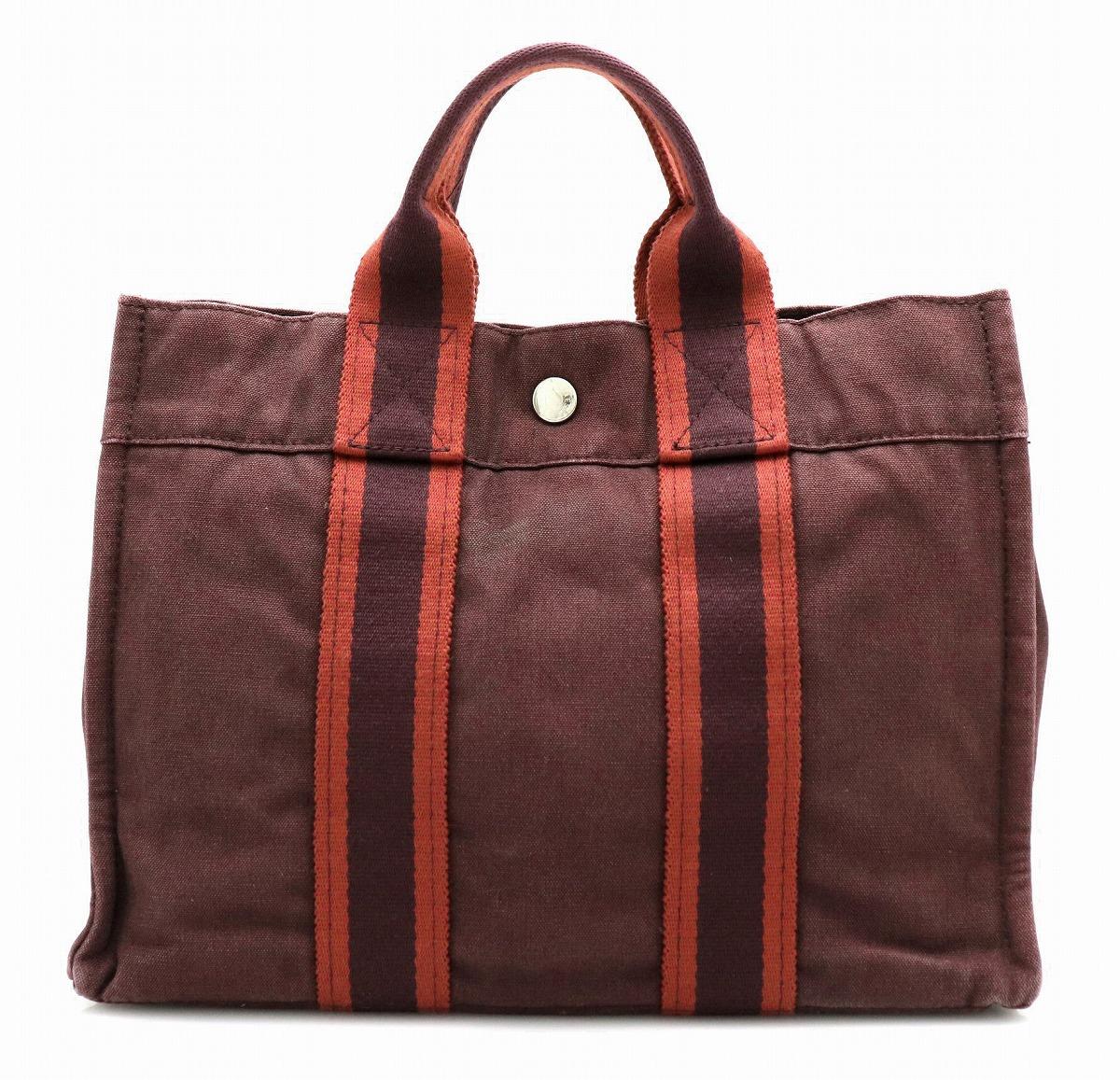 【バッグ】HERMES エルメス フールトゥ トートPM トートバッグ ハンドバッグ コットン100% ブラウン 茶 レッド 赤 【中古】【u】