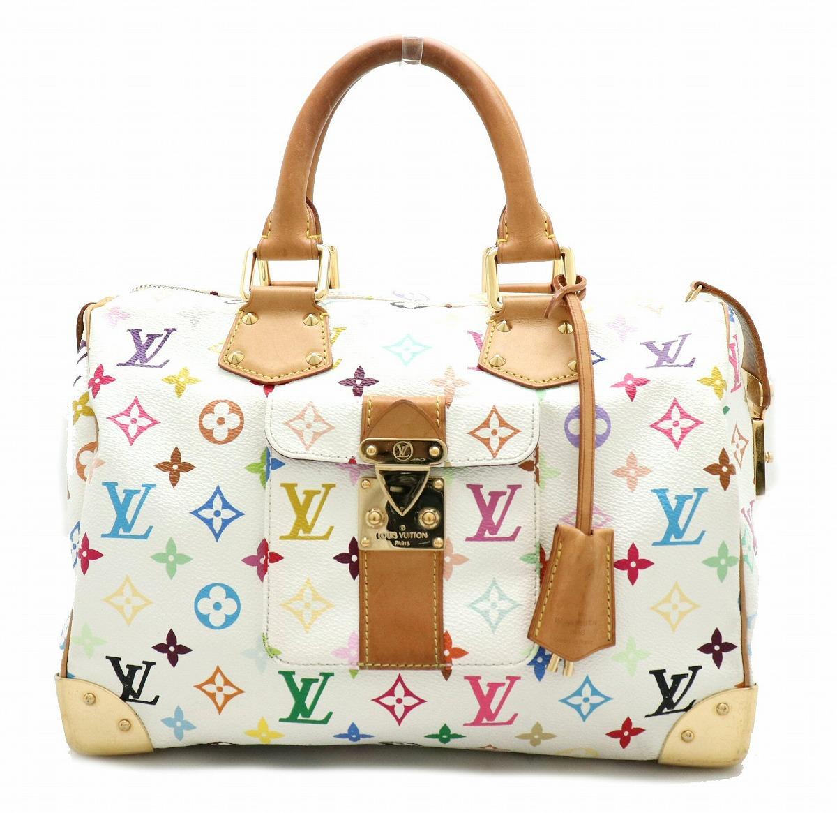 【バッグ】LOUIS VUITTON ルイ ヴィトン モノグラムマルチカラー スピーディ30 ハンドバッグ ミニボストンバッグ ブロン 白 ホワイト M92643 【中古】【k】