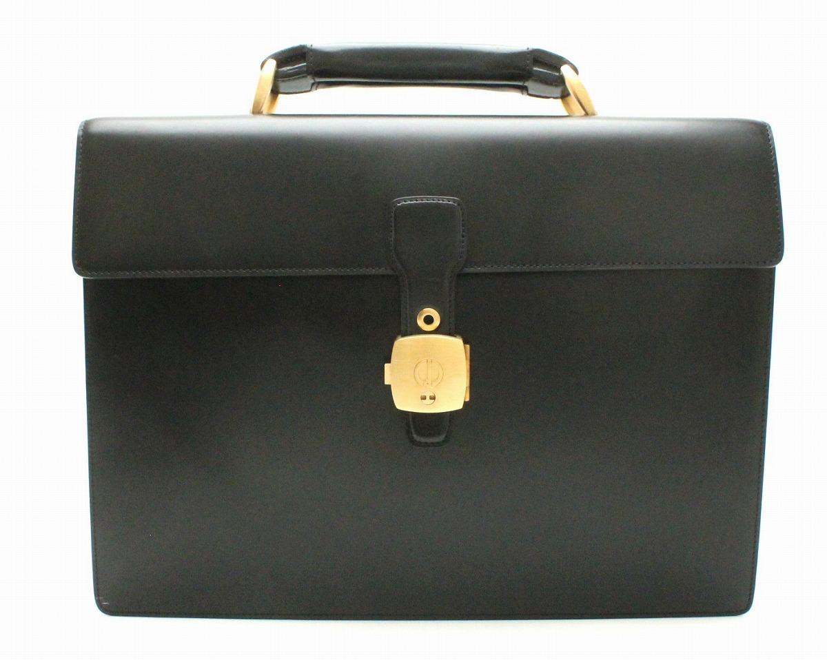 【バッグ】dunhill ダンヒル ビジネスバッグ 書類カバン ブリーフケース ブラック 黒 レザー ゴールド金具 【中古】【k】