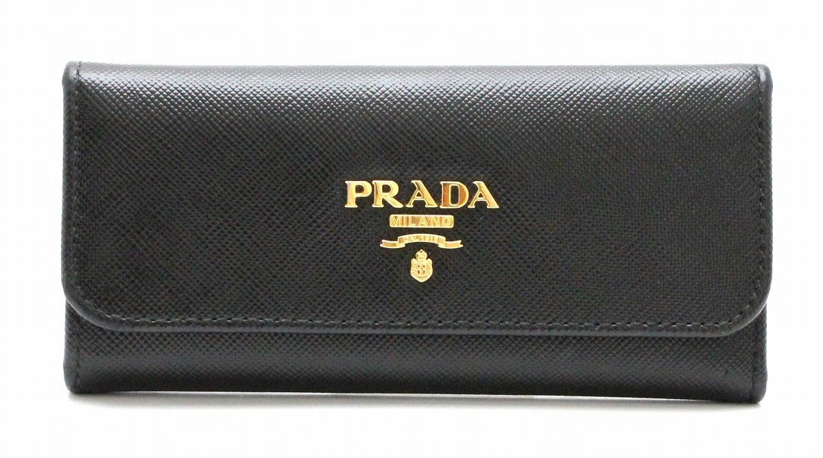 PRADA プラダ 6連キーケース キーケース SAFFIANO METAL 型押しレザー NERO 黒 ブラック 1M0223 【中古】【k】
