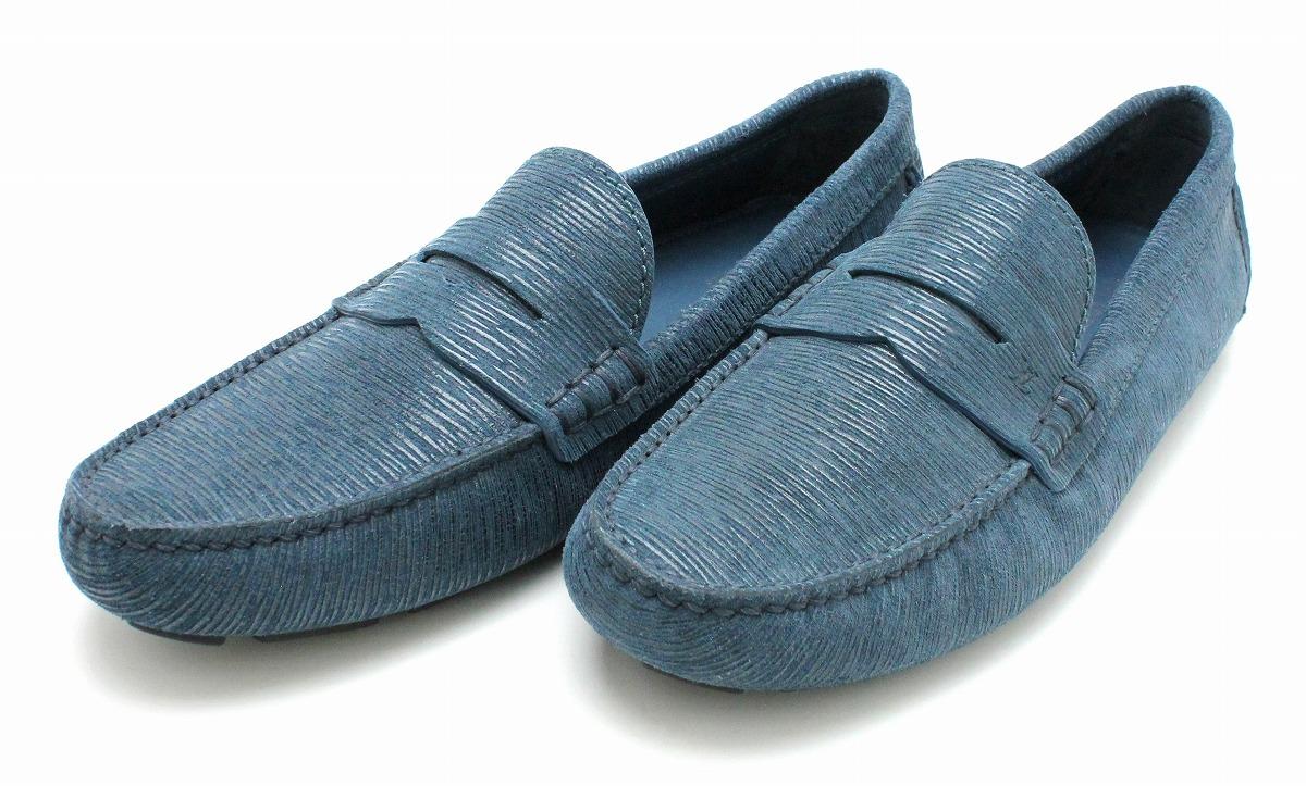 【新品未使用品】【靴】LOUIS VUITTON ルイ ヴィトン メンズ ドライビングシューズ ローファー スリッポン レザー ブルー 青 サイズ#8【k】
