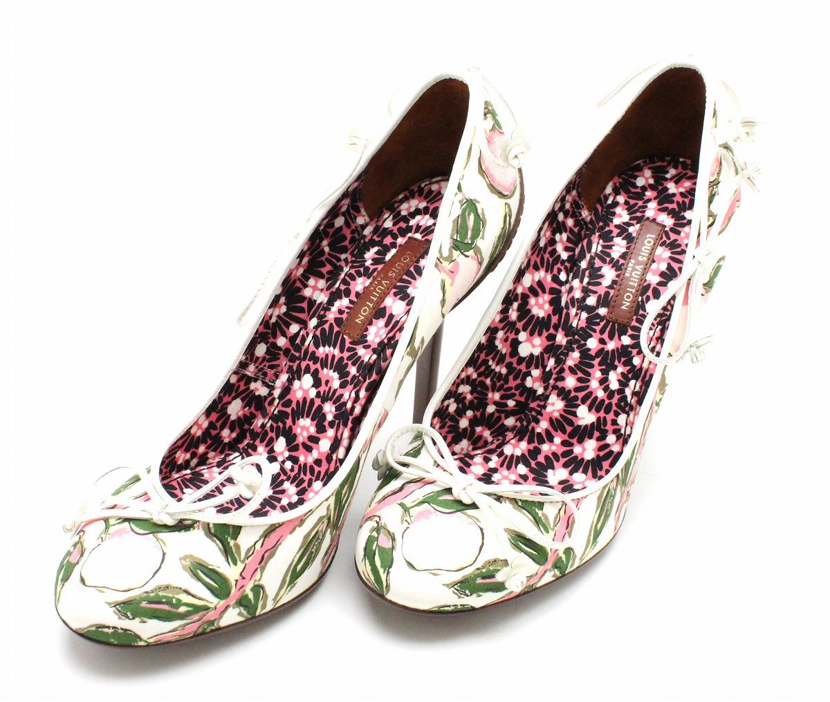 4d1841643365 【未使用品】【靴】LOUISVUITTONルイヴィトンリボンフラワーヒールハイヒールパンプス
