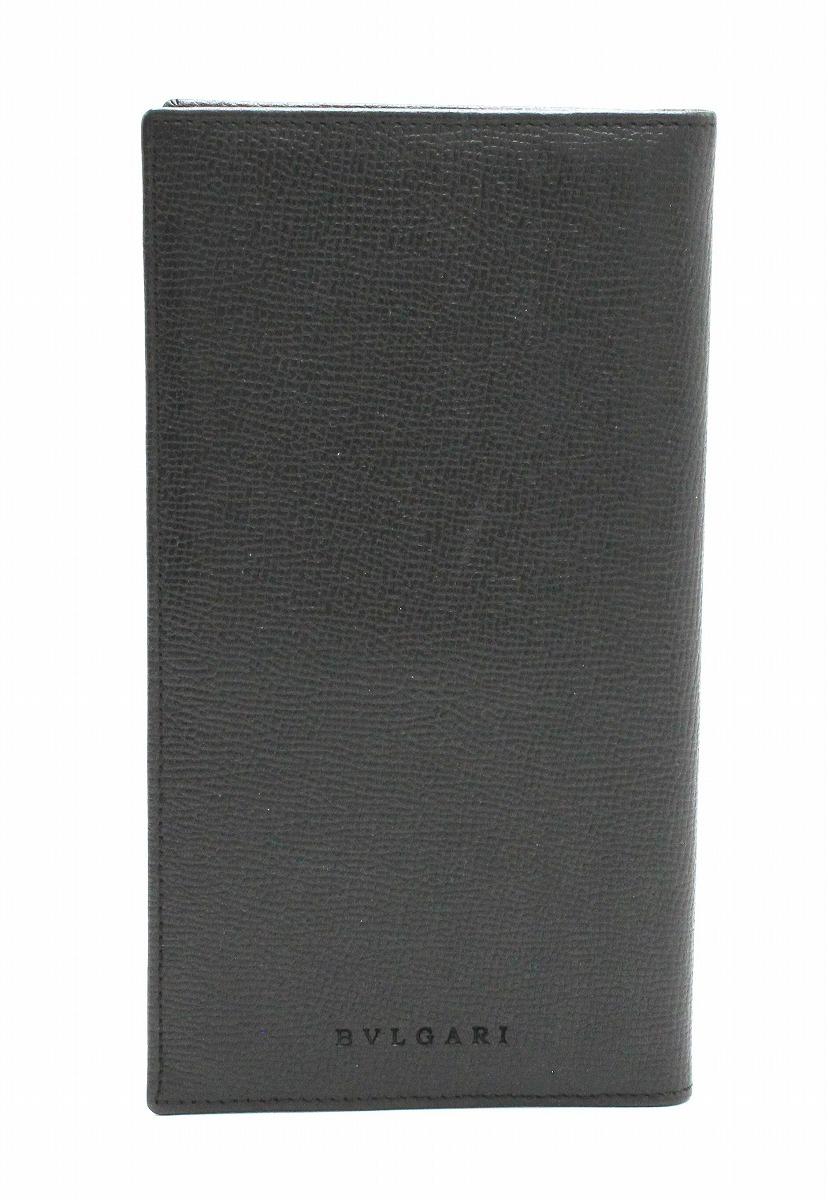 【財布】BVLGARI ブルガリ グレインレザー 2つ折 長札入れ 型押しレザー カーフ ブラック 黒 メンズ 20308 【中古】【k】