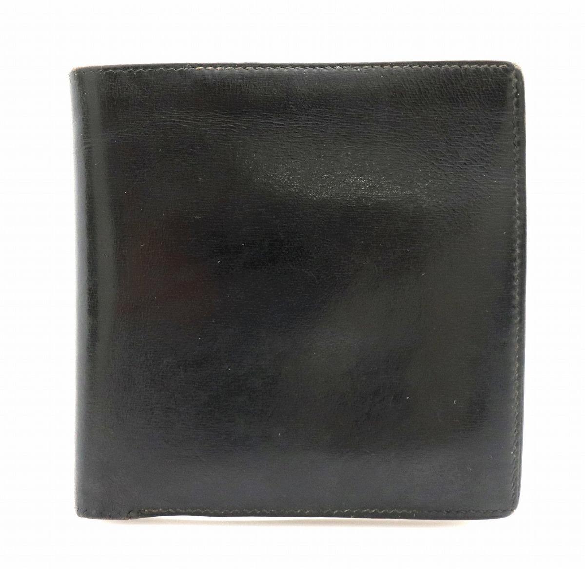 【財布】HERMES エルメス 二つ折り財布 コインケース 小銭入れ レザー 黒 ブラック 〇T刻印 【中古】【k】