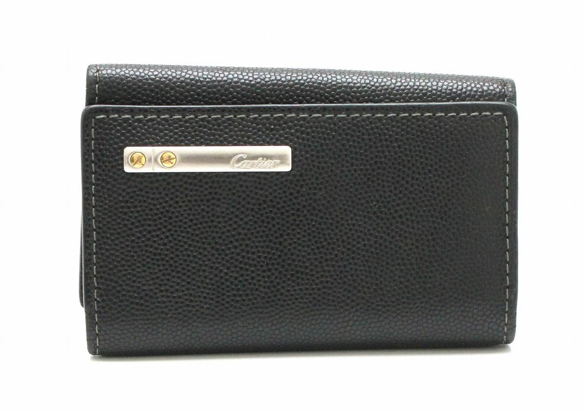 Cartier カルティエ サントス ライン 6連キーケース レザー 黒 ブラック シルバー金具 L3000775 【中古】【k】