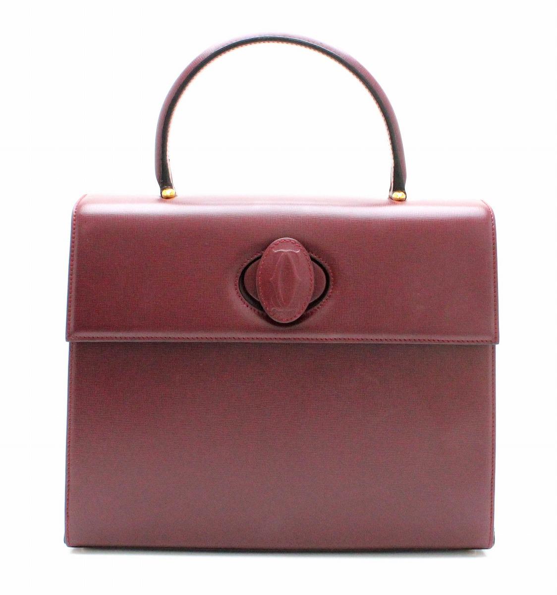 【バッグ】Cartier カルティエ マストライン ハンドバッグ ボルドー ゴールド金具 L1000169 【中古】【k】