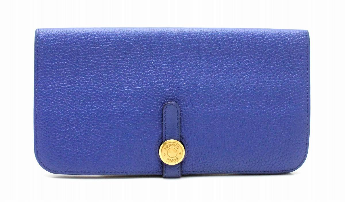 【財布】HERMES エルメス ドゴンロング 2つ折長財布 トゴ レザー ブルー 青 □O刻印 【中古】【k】