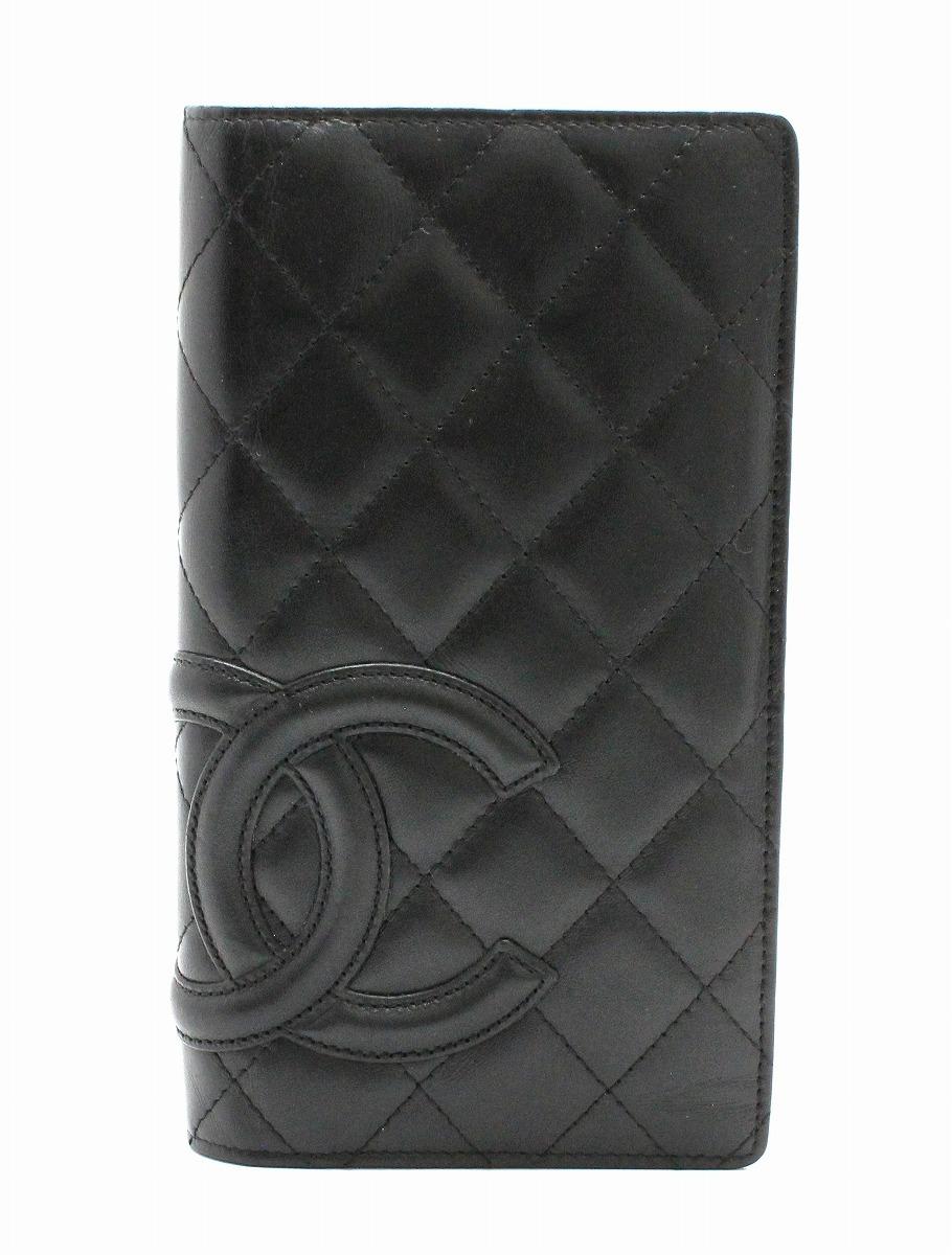 8285217f2270 【財布】CHANEL シャネル カンボンライン ココマーク 2つ折長財布 レザー ソフトカーフ 黒