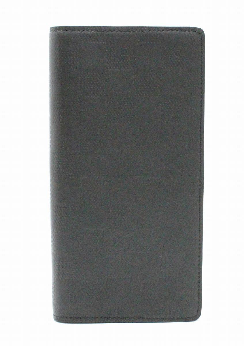 【財布】LOUIS VUITTON ルイ ヴィトン ダミエアンフィニ ポルトフォイユ ブラザ 2つ折長財布 レザー オニキス 黒 ブラック N63010 【中古】【k】
