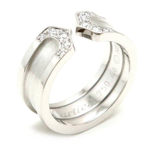 【ジュエリー】【新品仕上げ済】Cartier カルティエ 2C ロゴ モチーフ リング 指輪 K18WG ダイヤモンド ホワイトゴールド 6号 #46 C2 B4044246 【中古】【k】