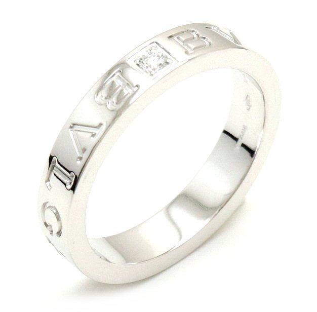 【ジュエリー】【新品仕上げ済】BVLGARI ブルガリ ダブルロゴリング 指輪 1Pダイヤ ダイヤモンド K18WG 750WG ホワイトゴールド 15.5号 #15.5 AN853348 【中古】【k】
