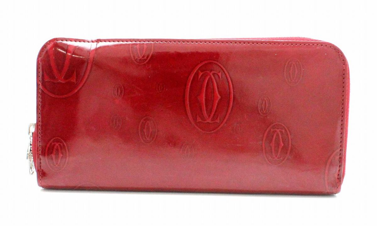 【財布】Cartier カルティエ ハッピーバースデー ハッピーバースデイ ラウンドファスナー長財布 エナメルレザー ボルドー 赤 レッド L3001253 【中古】【k】