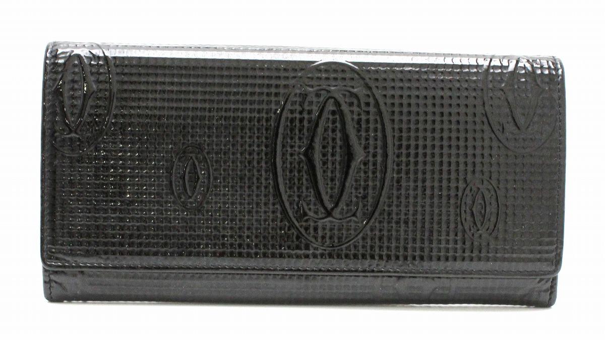 【財布】Cartier カルティエ ハッピーバースデー ハッピーバースデイ 2つ折ファスナー長財布 エナメル レザー 黒 ブラック L3000982 【中古】【k】