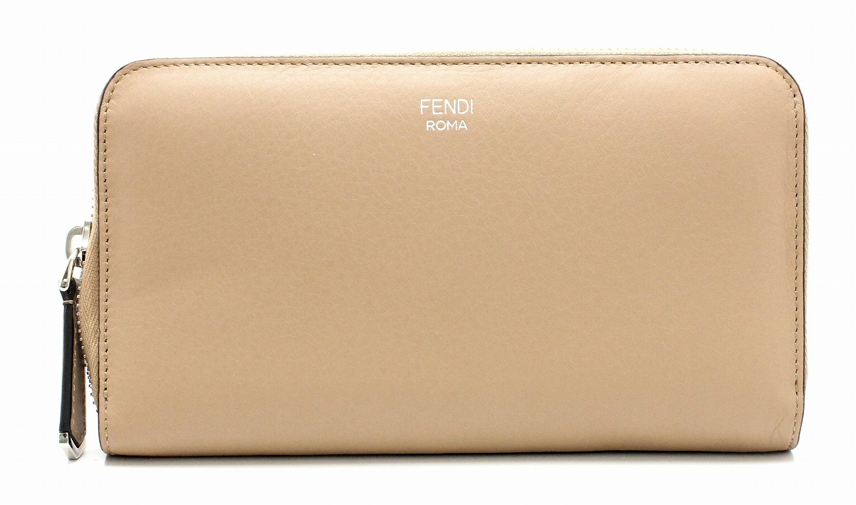 【新品未使用品】FENDI フェンディ ジップアラウンド ラウンドファスナー 長財布 レザー バイカラー ベージュ 黒 ブラック 8M0299【k】