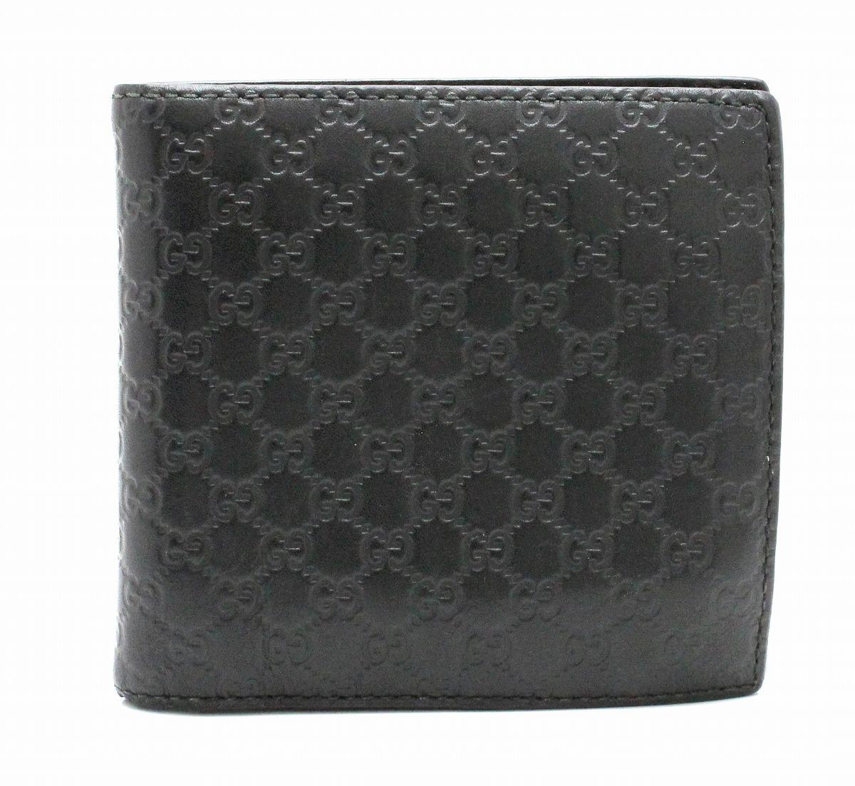 【財布】GUCCI グッチ マイクログッチシマ 2つ折り財布 レザー ブラック 黒 アウトレット品 150413 0416 【中古】【k】