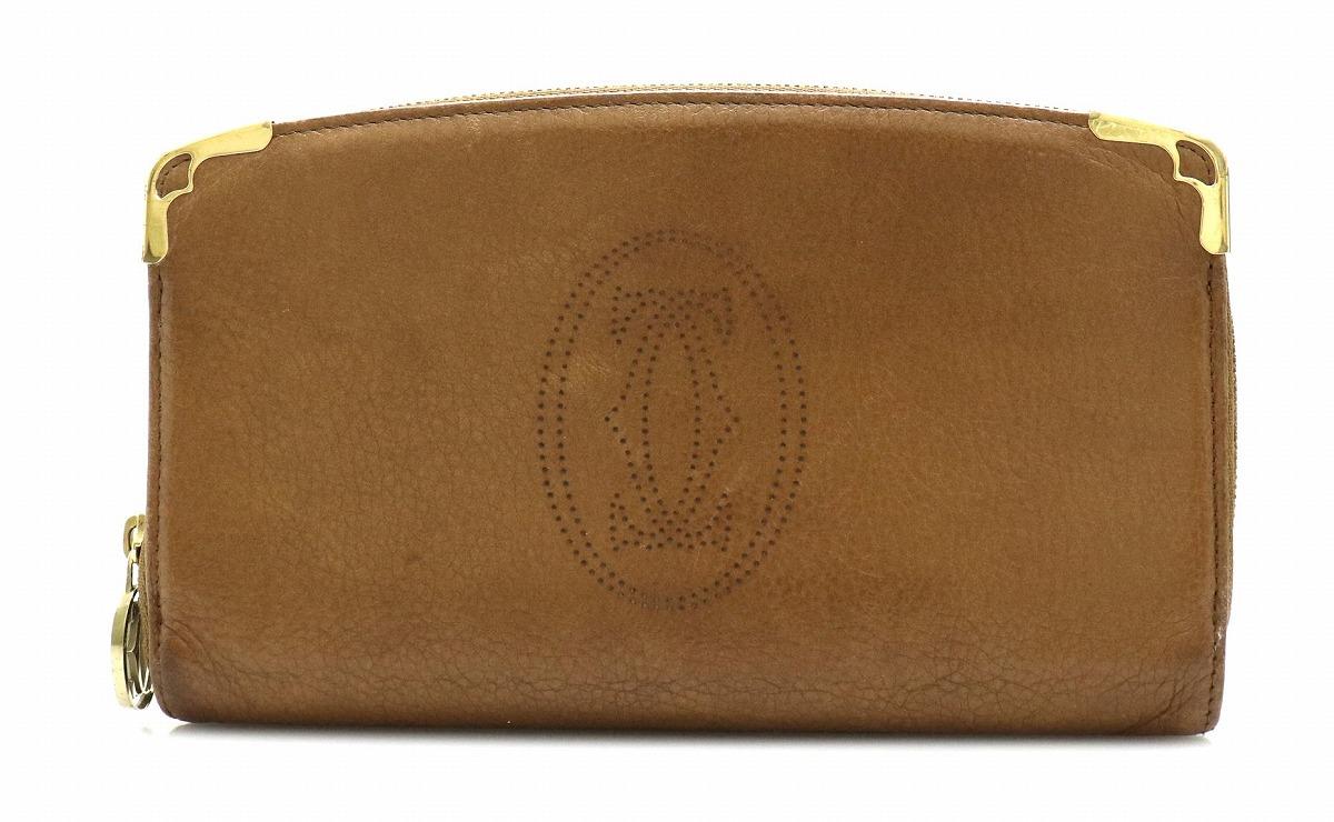 【財布】Cartier カルティエ マルチェロ ラウンドファスナー 長財布 レザー ブラウン 茶 L3000817 【中古】【k】