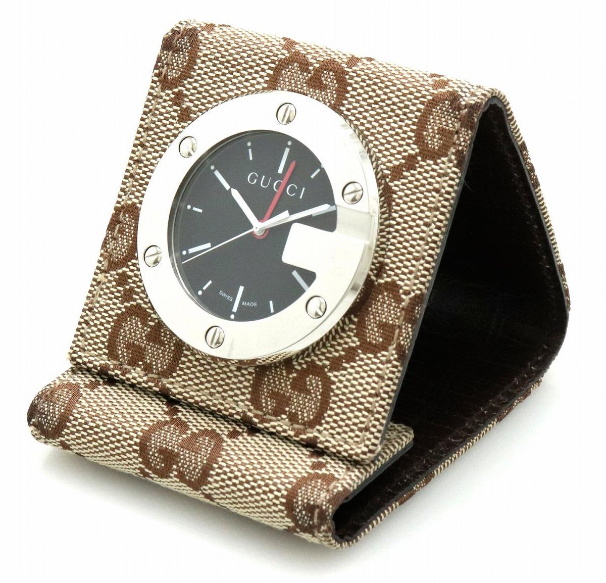 GUCCI グッチ ブラック文字盤 GGキャンバス SS トラベルクロック アラーム 置時計 QZ クォーツ 200 YC200001 【中古】【k】