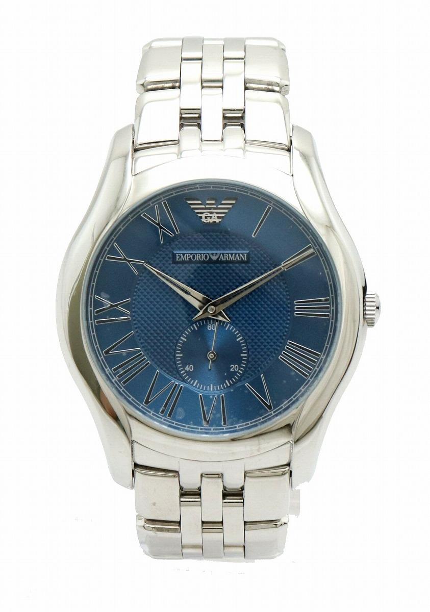 【ウォッチ】EMPORIO ARMANI エンポリオ アルマーニ スモールセコンド ネイビー文字盤 SS クォーツ メンズ 腕時計 AR-1789 AR 1789 【中古】【k】