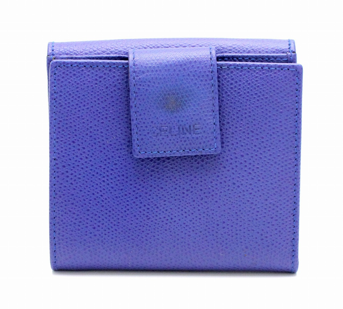 【財布】CELINE セリーヌ Wホック 二つ折り財布 型押しレザー パープルブルー 【中古】【k】