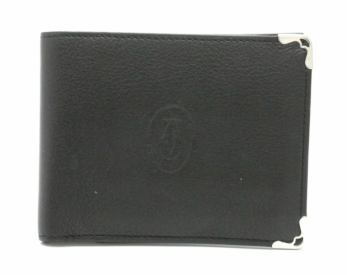 【財布】Cartier カルティエ マスト ドゥ カルティエ ウォレット カボション 2つ折財布 黒 ブラック ボルドー シルバー金具 メンズ L3001369 【中古】【Blumin/森田質店】【質屋出品】【s】