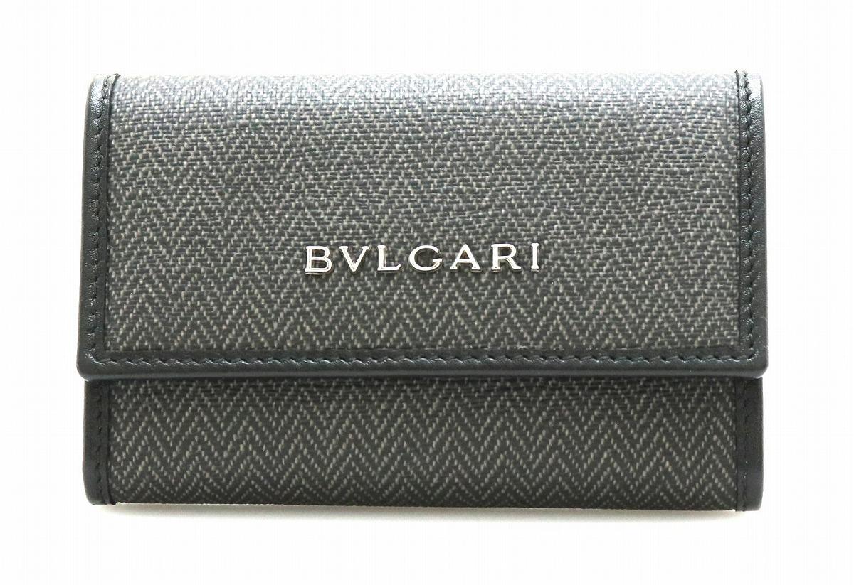 【未使用品】BVLGARI ブルガリ ウィークエンド 6連 キーケース PVC レザー ダークグレー 黒 ブラック 32583 【中古】【k】